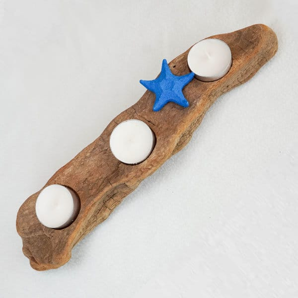 bougeoir-bois-flotté-trois-bougies-étoile-de-mer-bleue-artisanat-français-aude-minervois-hérault-langudoc-roussillon