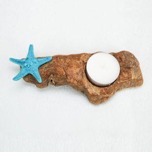 bougeoir-bois-flotté-une-bougie-étoile-de-mer-bleu-artisanat-français-aude-minervois-hérault-languedoc-roussillon
