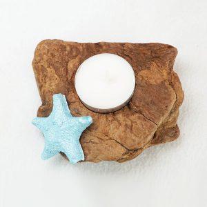 bougeoir-bois-flotté-une-bougie-étoile-de-mer-bleu-turquoise-artisanat-français-aude-minervois-hérault-languedoc-roussillon