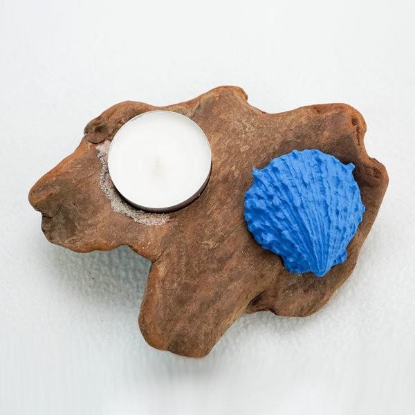 bougeoir-bois-flotté-une-bougie-coquillage-bleu-artisanat-français-aude-minervois-hérault-languedoc-roussillon-1