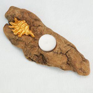 bougeoir-bois-flotté-une-bougie-coquillage-doré-artisanat-français-aude-minervois-hérault-languedoc-roussillon-2