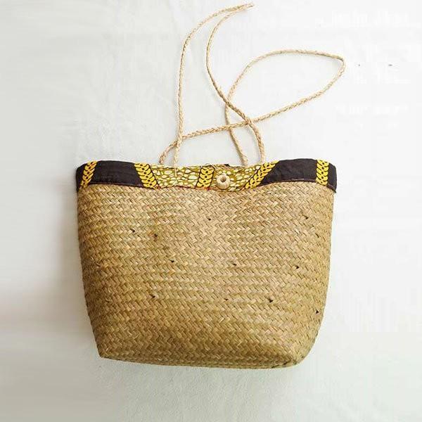 Sac raphia tissé marron et jaune artisanat de Madagascar