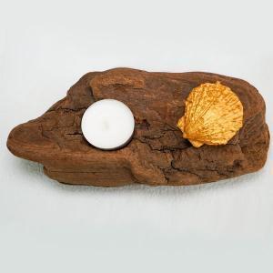 bougeoir-bois-flotté-une-bougie-coquillage-doré-artisanat-francais-aude-minervois-hérault-langudoc-roussillon