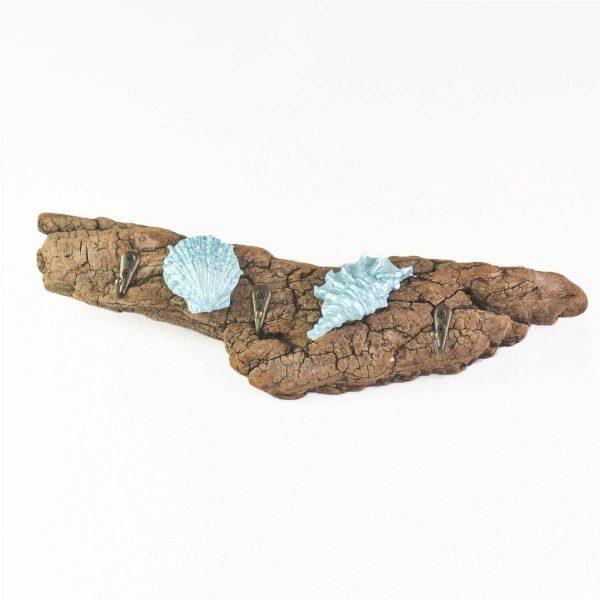 patère-bois-flotté-coquillage-turquoise-porte-clés-serviette-bijoux-porte-sac-fait-main-artisanat-aude-hérault-minervois