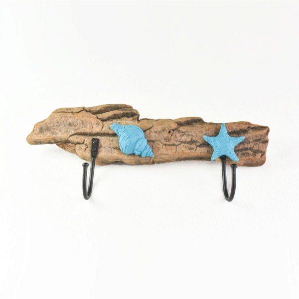 patère-bois-flotté-porte-manteau-coquillage-étoile-de-mer-bleu-fait-main-artisanat-français