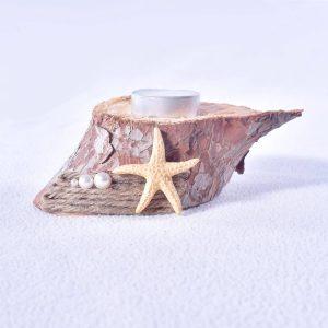 bougeoir-fait-main-rondin-de-bois-etoile-de-mer-perle-deco-maison-artisanat-minervois-hérault