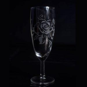 rose-gravure-sur-verre-a-flute-fait-main-artisanat-sud-de-france