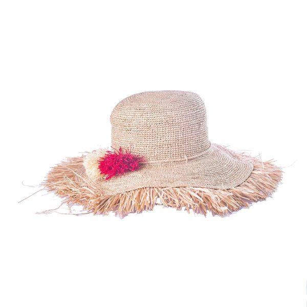 chapeau-femme-chic-raphia-ete-froufrou-pompons-rouge-artisanat-malgache