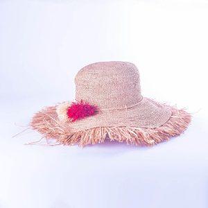 chapeau-femme-chic-raphia-ete-froufrou-pompons-rouge-naturel-artisanat-malgache
