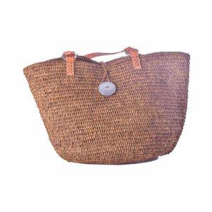sac-boule-raphia-couleur-cannelle-anse-epaule-cuir-artisanat-malgache