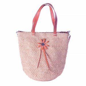 sac raphia fleur cuir anse épaule couleur naturelle chic artisanat malgache