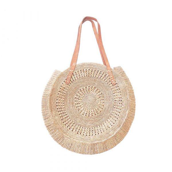 sac rond crochet raphia couleur crème fibres naturelles artisanat de Madagascar