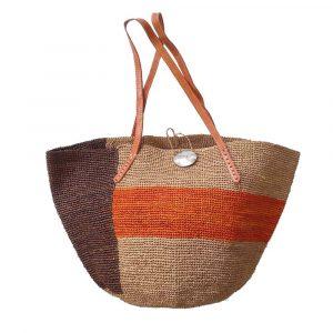 sac seau tricolore marron orange raphia fibres naturelles artisanat madagascar