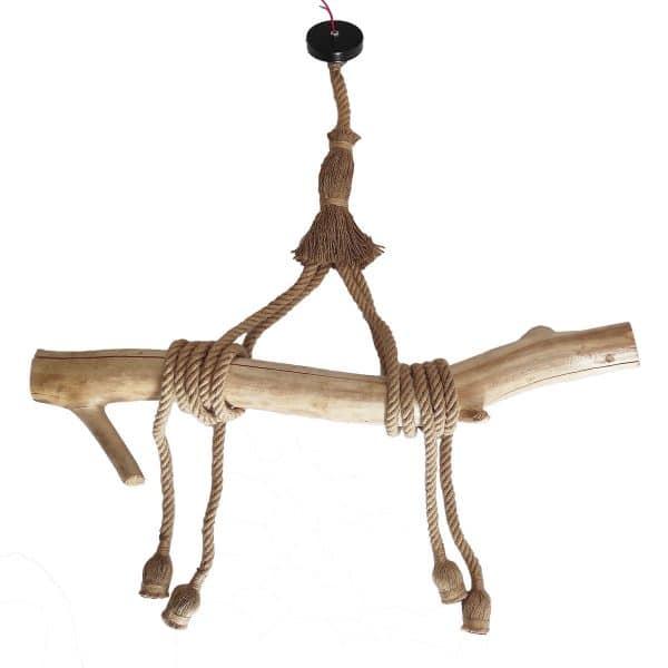 luminaire suspendu suspension bois flotté corde de chanvre déco mer