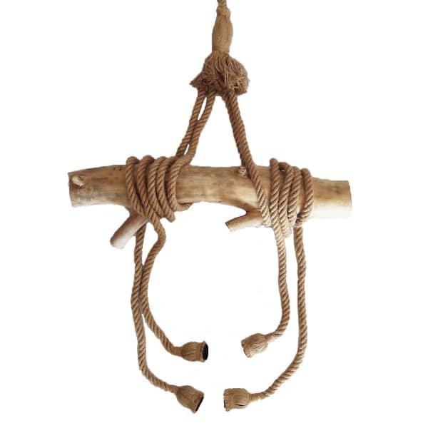 lustre en bois flotté déco style marin luminaire original corde de chanvre artisanat français