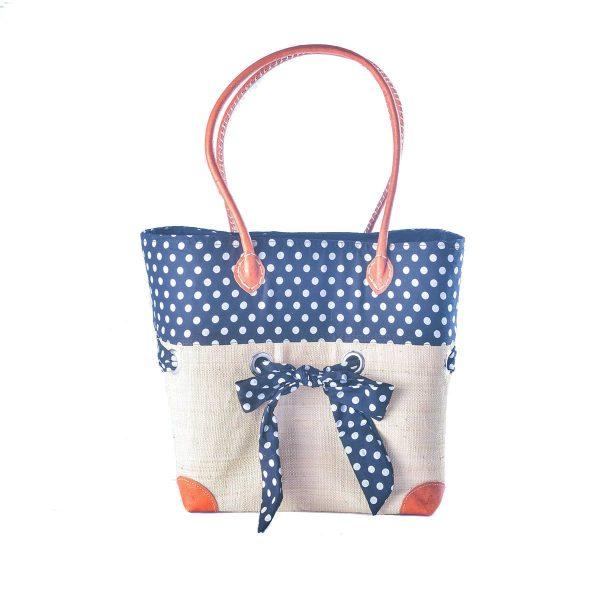 sac cabas chic raphia foulard bleu à pois blanc artisanat de Madagascar
