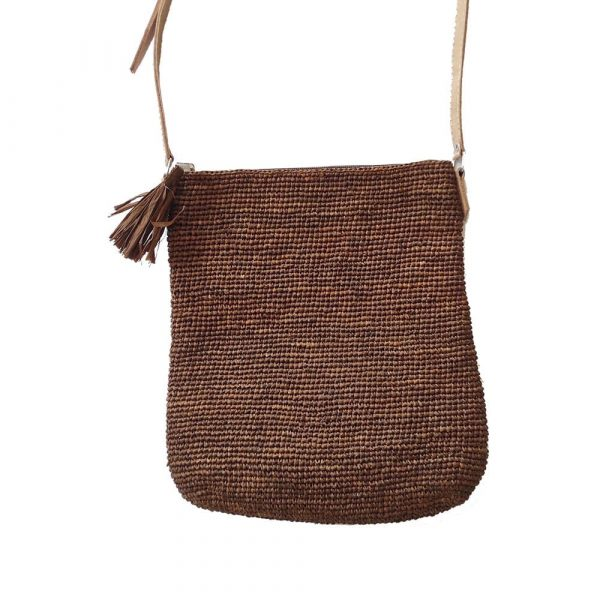 sac pochette raphia bandoulière couleur cannelle marron