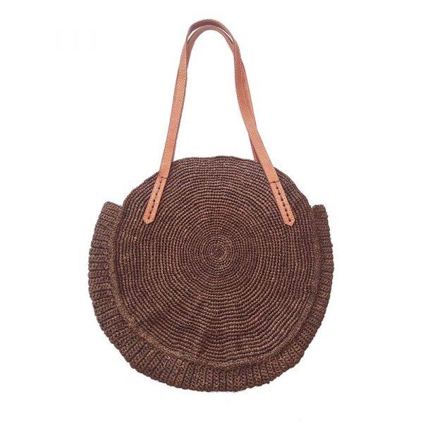 sac rond raphia couleur cannelle marron foncé crochet artisanat malgache
